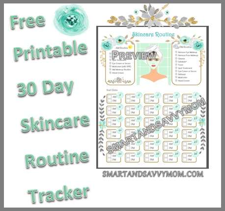 30 day skincare routine printable preview title