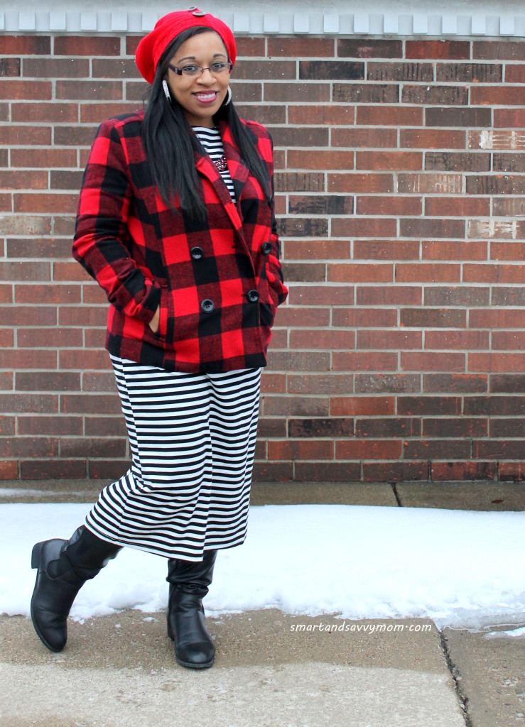 buffalo plaid peacoat from #burkesoutlet and red beanie, plaid and stripe pattern mix. My modest winter style