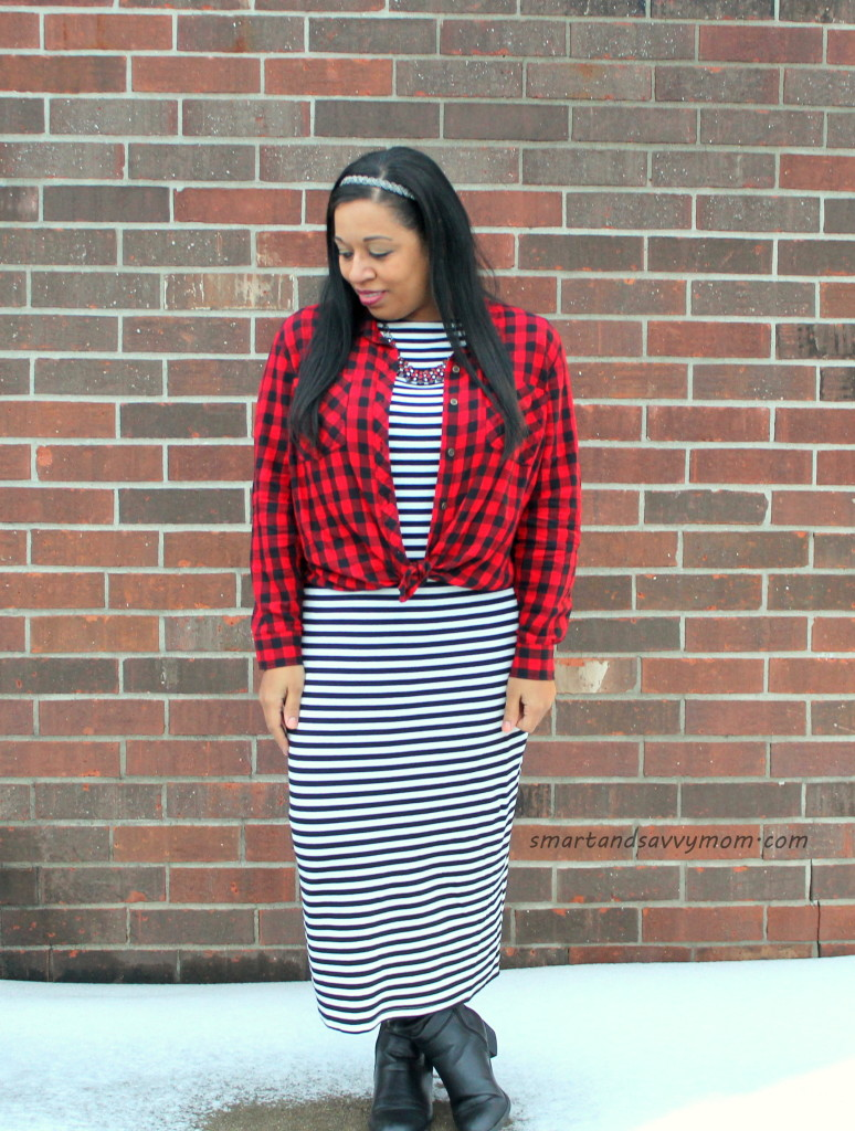buffalo plaid button up tied over black and white striped dress, my modest winter syle