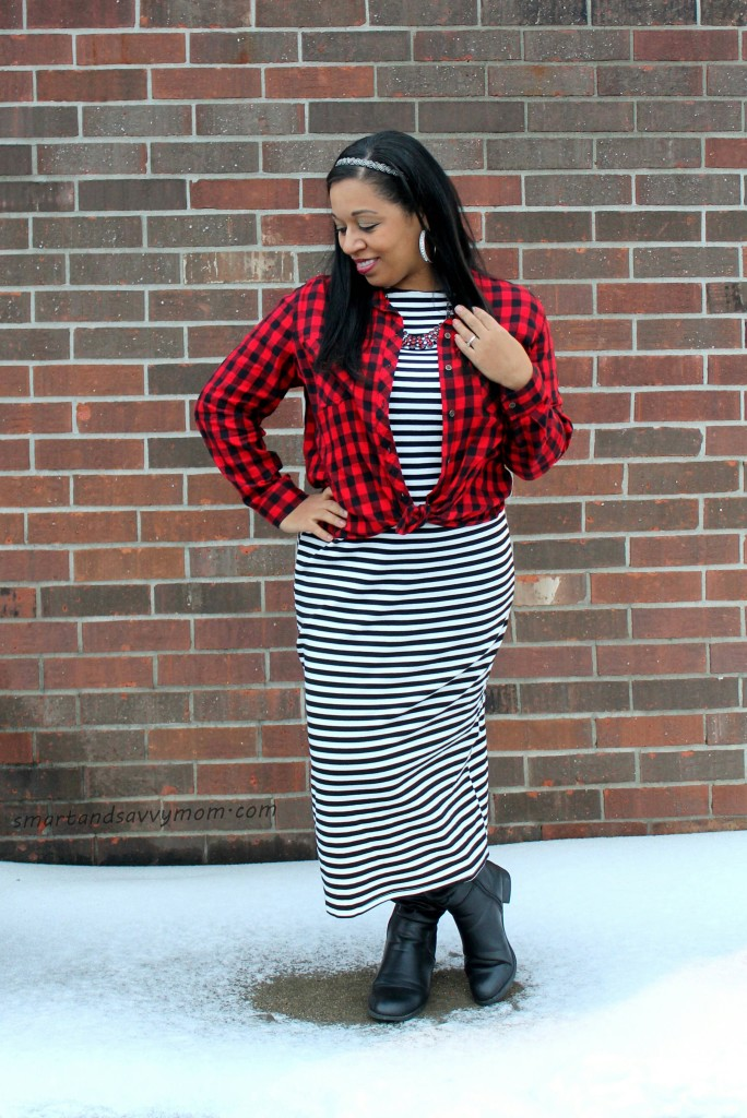 buffalo plaid button up and black and white striped long sleeve dress, my modest winter style