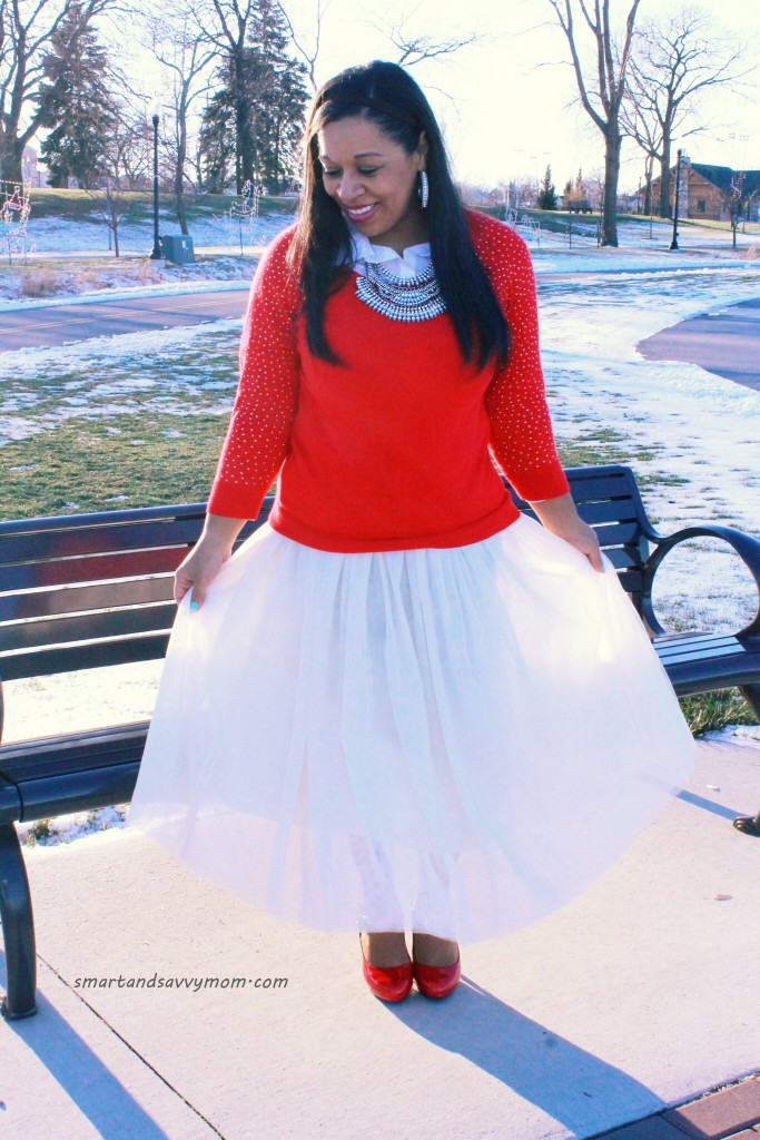 red embellished sweater with statement necklace and tulle skirt modest christmas outfit