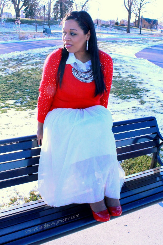 red embellished sweater with statement necklace and tulle skirt modest winter outfit