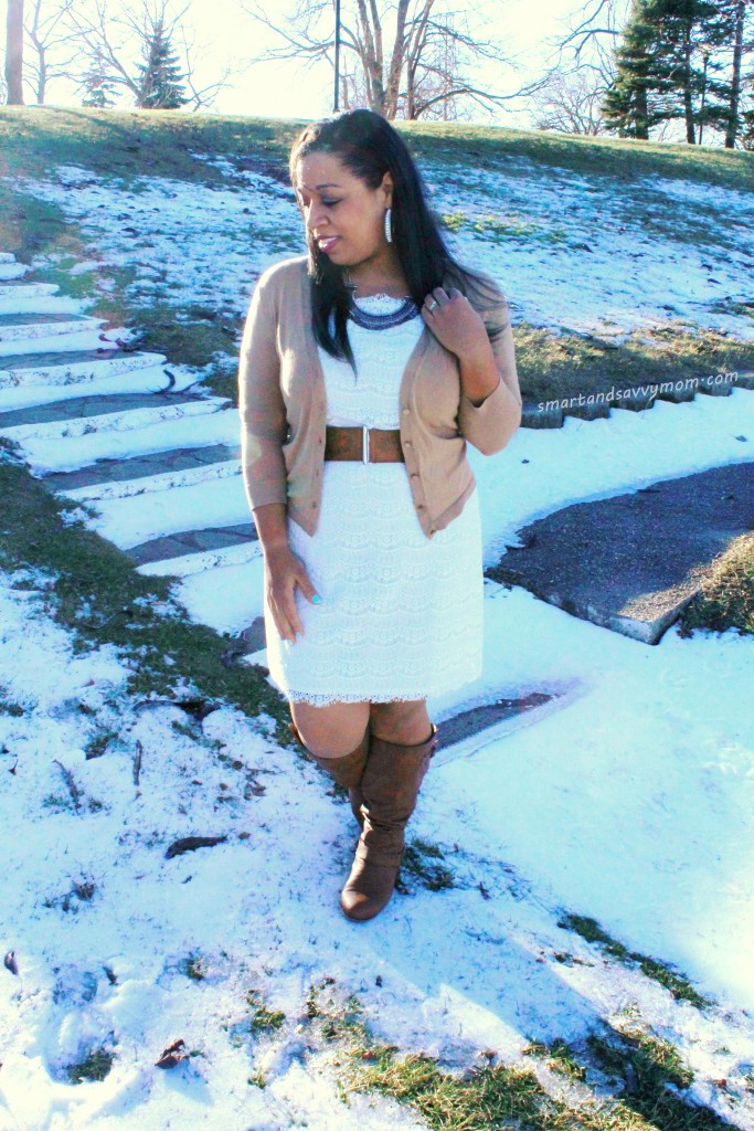 white lace dress and cognac boots modest winter outfit