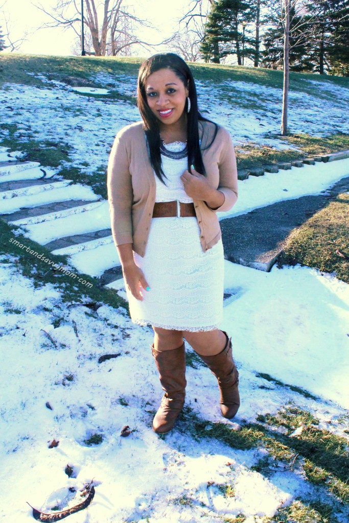white lace dress and cognac boots and belt my modest winter style