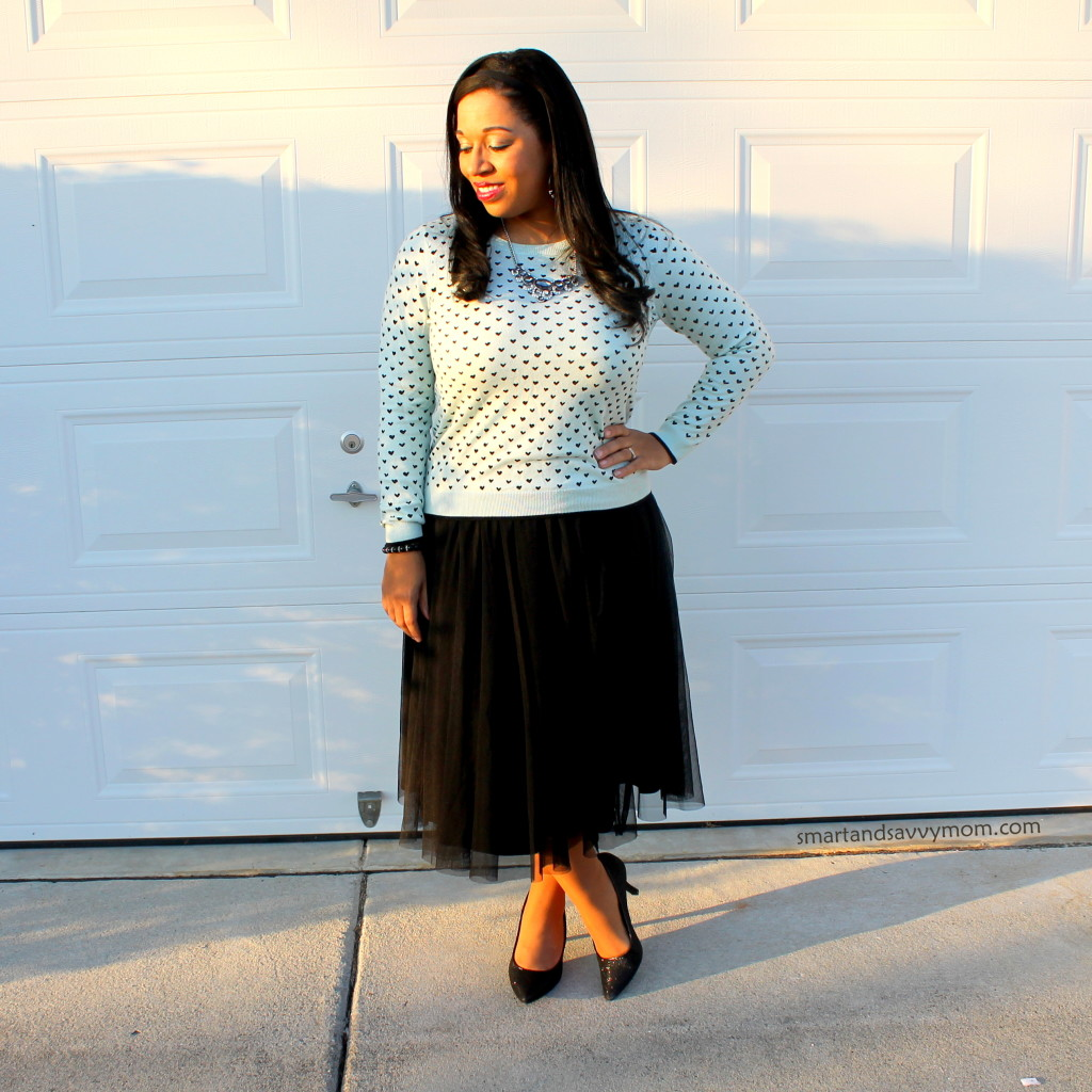 heart patterned sweater with black tulle skirt and sparkly heels modest valentine outfit ideas