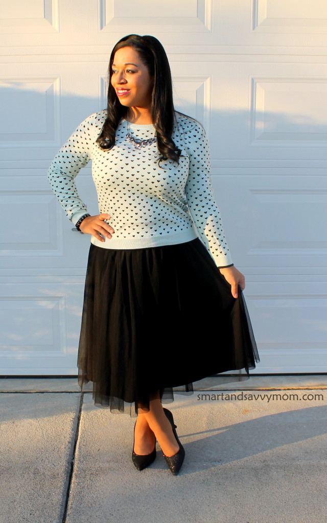 black tulle skirt, black glitter heels and blue heart sweater valentine's day outfit idea