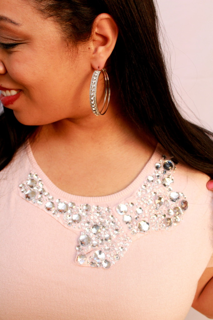 jewel embelishments in the shape of a bow on blush colored sweater from Kohl's Elle Line