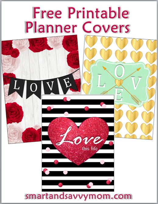 Valentine's themed free printable erin condren planner covers