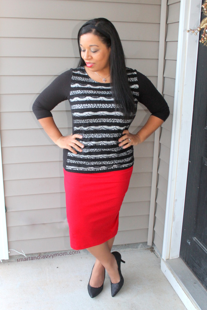 black and white lace striped top with red pencil skirt easy modest outfit idea