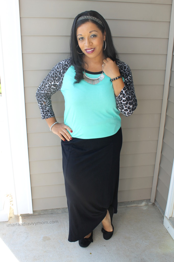 black leopard sleeves and mint #rue21 top with black maxi skirt