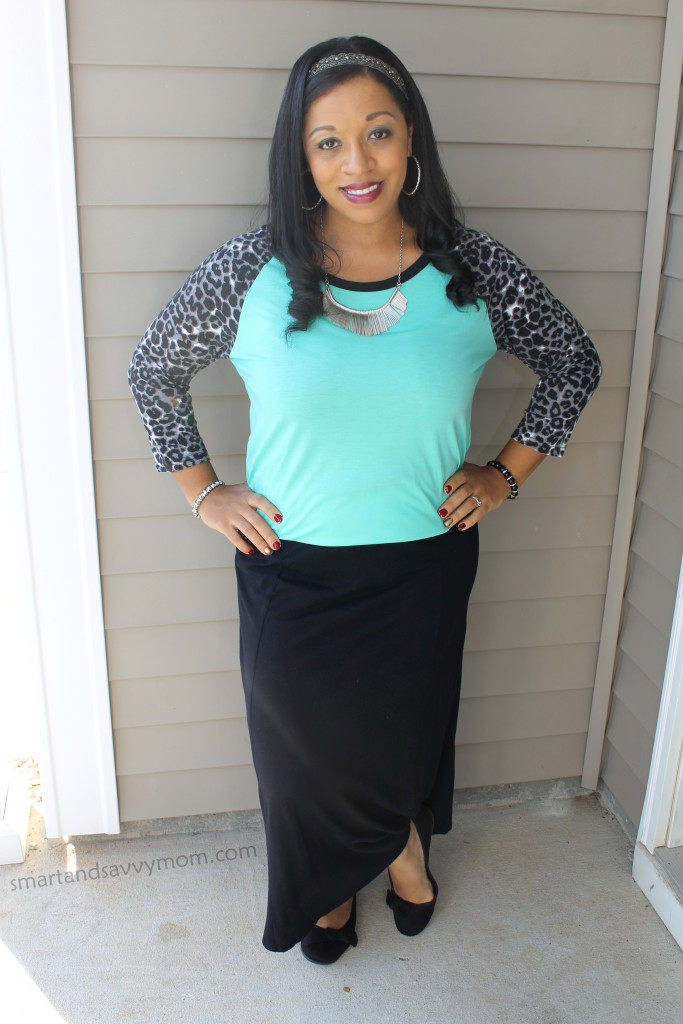 black leopard sleeves and mint top with black maxi skirt modest outfit idea