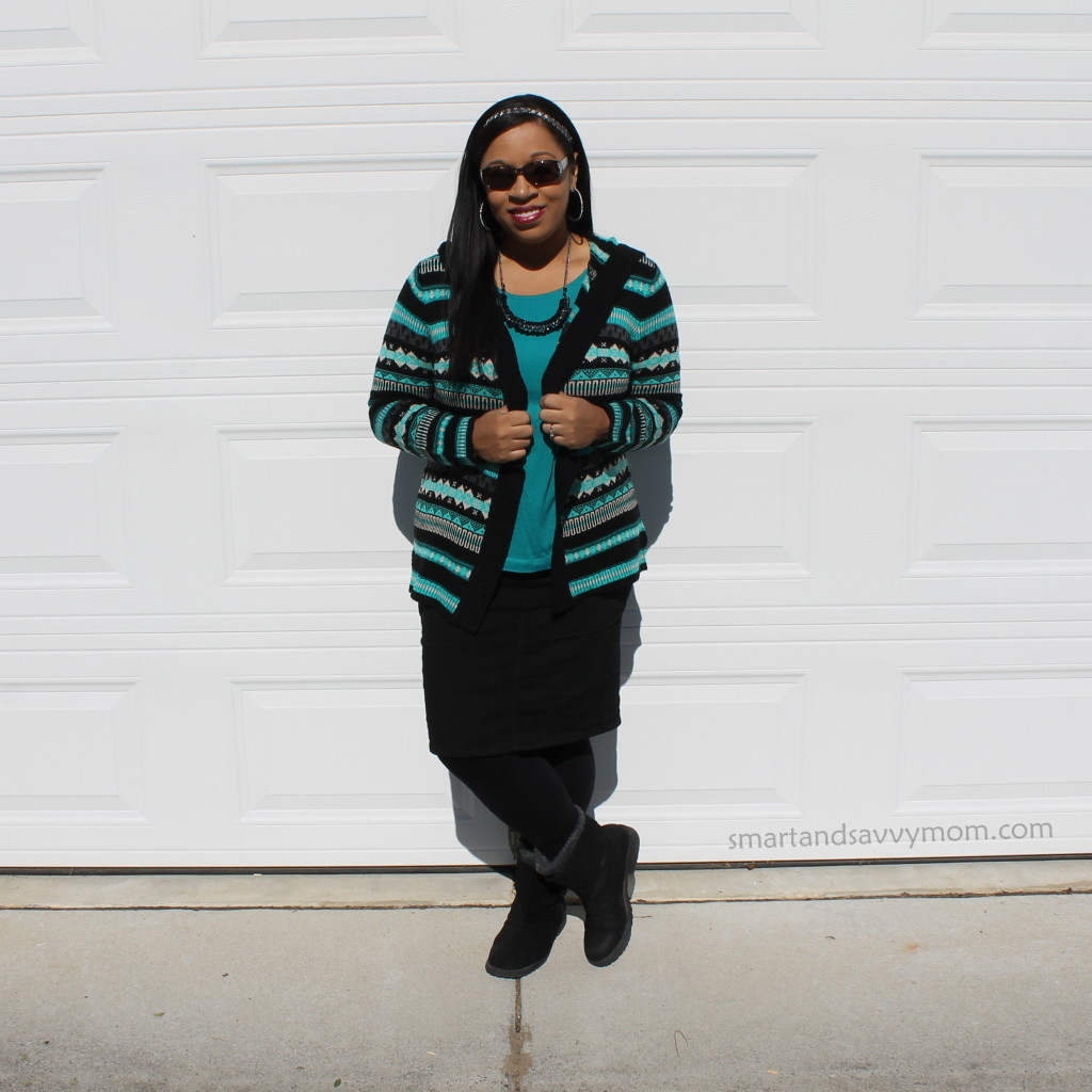 blue and black striped aztec print sweater with black pencil denim pencil skirt and boots