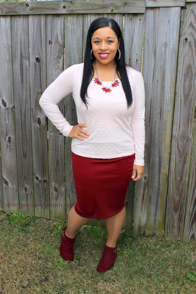 blush and burgunday modest valentine's day outfit idea