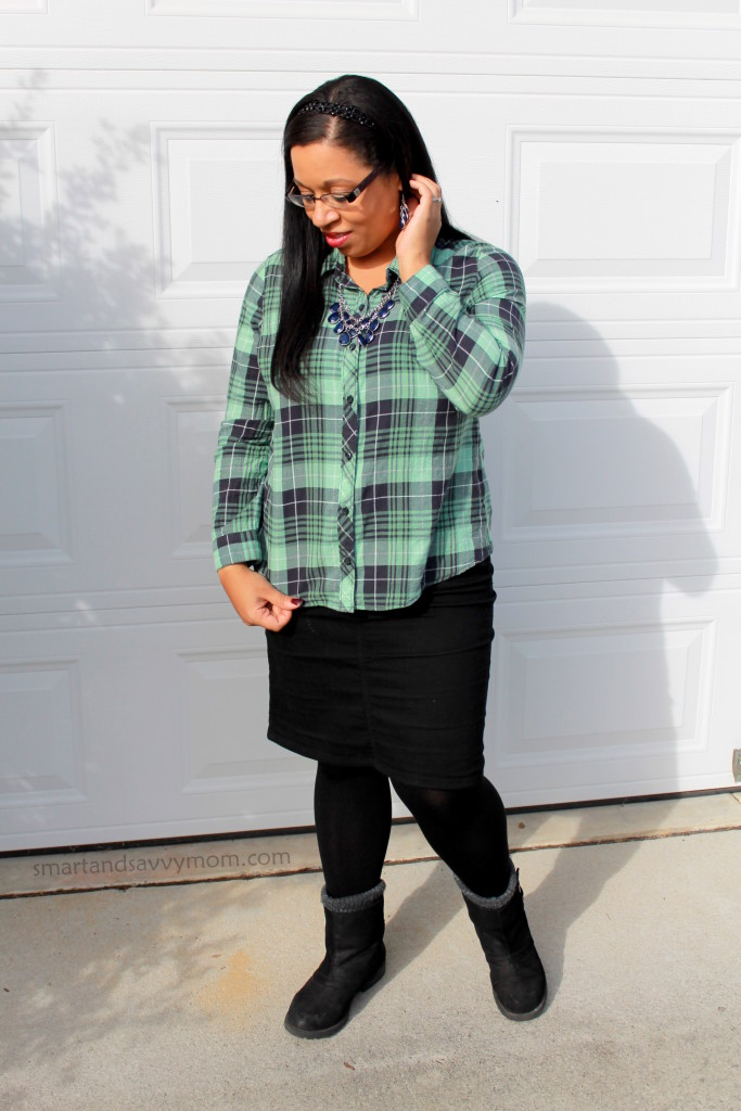green and navy plaid button up shirt with black denim pencil skirt and boots, modest fall or winter outfit idea