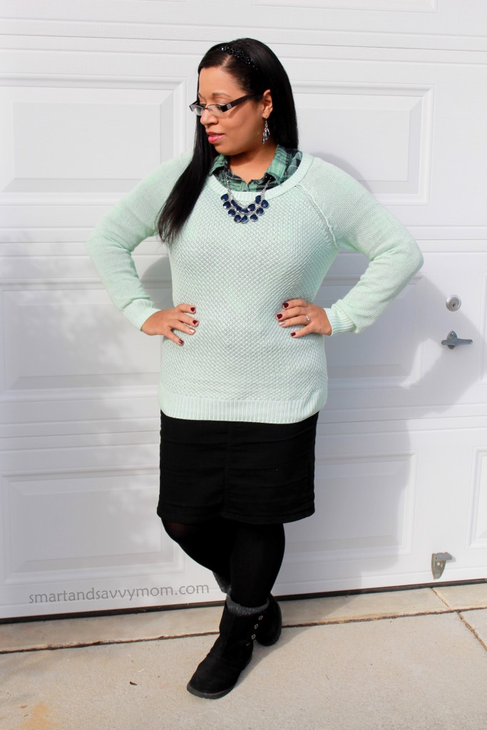 green, mint, and navy layered fall or winter modest outfit idea