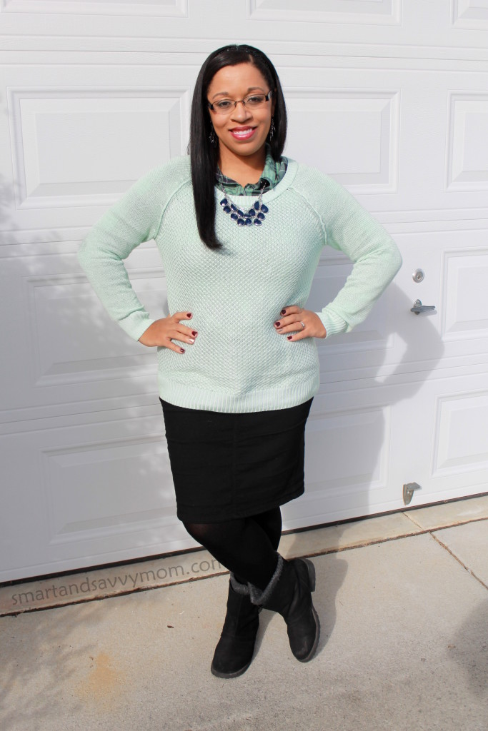 green plaid button up, mint sweater, and navy statement necklace layered fall or winter modest outfit idea