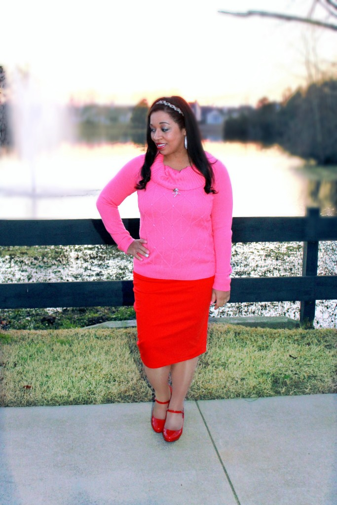red pencil skirt, red heels and pink jeweled sweater, pink and red modest valentine's day outfit