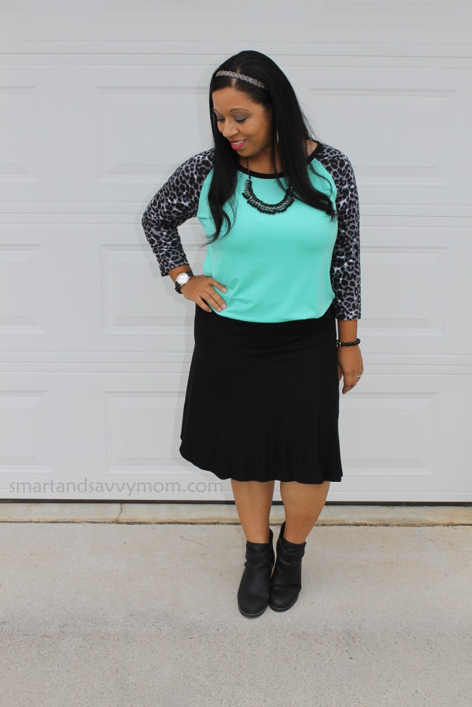 mint and black leopart modest fall outfit idea