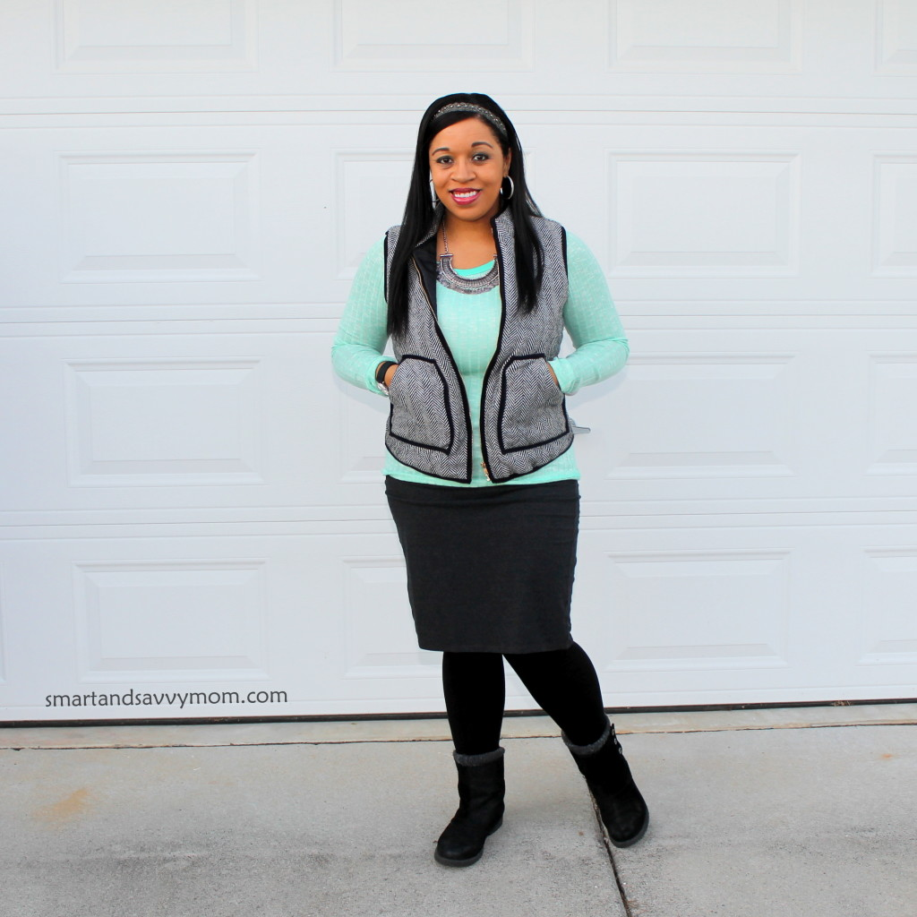 mint and herringbone modest outfit idea with boots