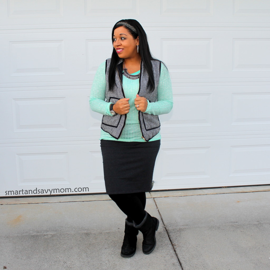 mint ribbed sweater and gray pencil skirt with herringbone vest modest outfit idea