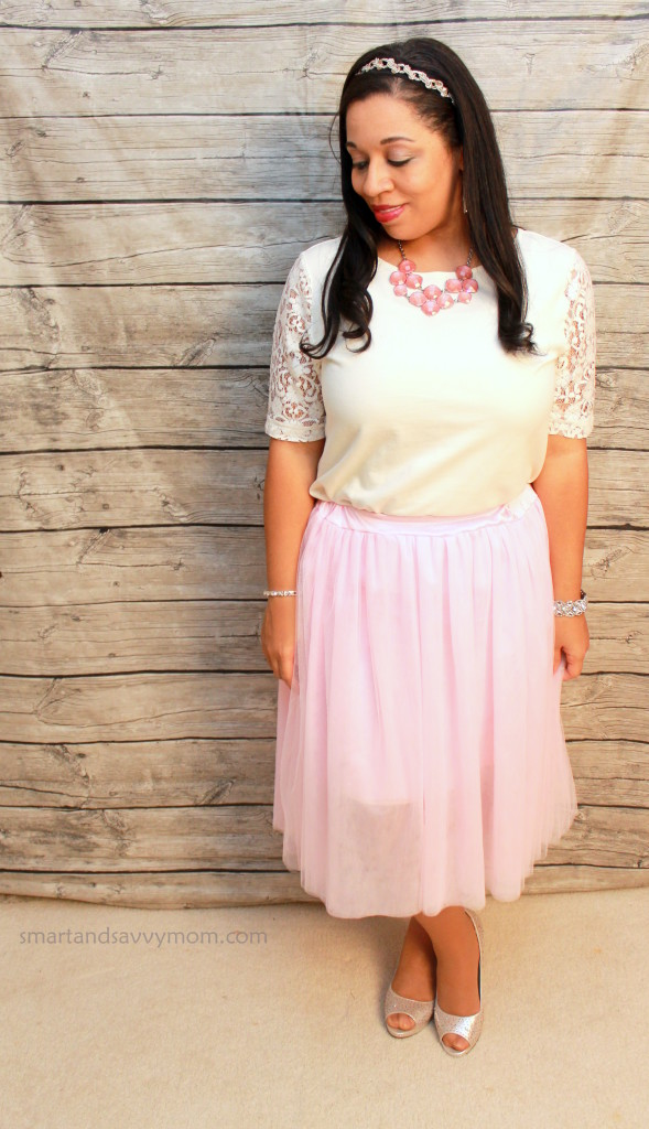 modest valentine's day outfit idea, pink tulle skirt and white lace top, silve shoes and pink statement necklace