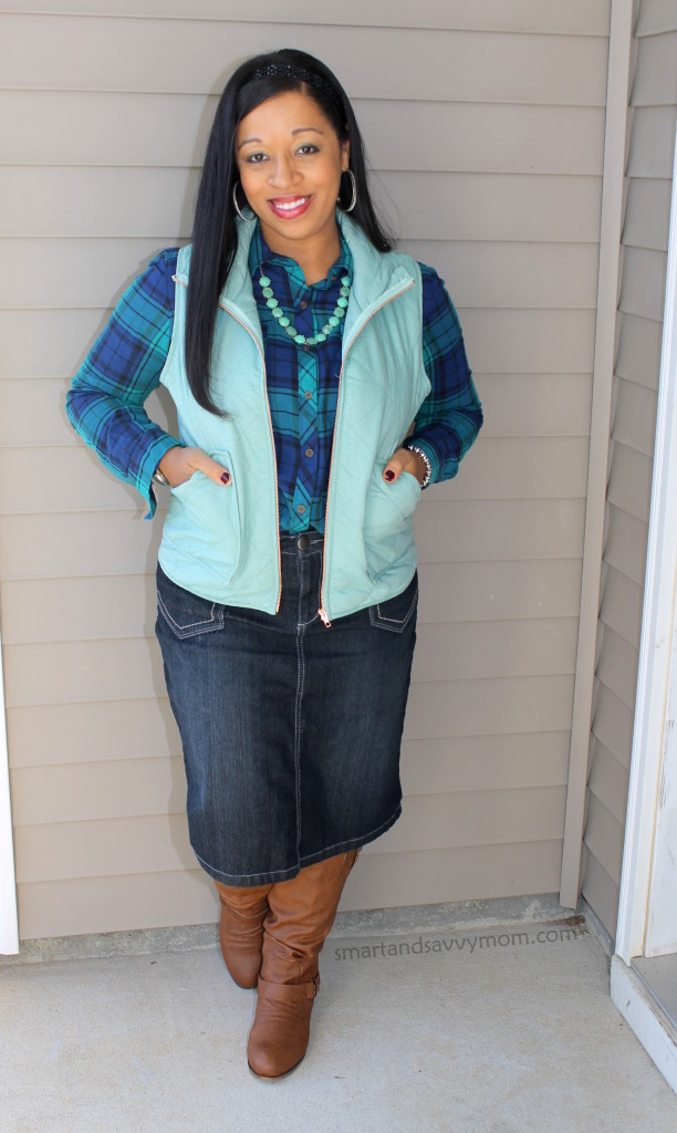 navy and green plaid button up with denim skirt, mint vest and cognac boots, modest outfit idea
