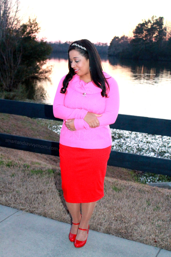 pink jeweled sweater and red pencil skirt, modest valentine's day outfit idea