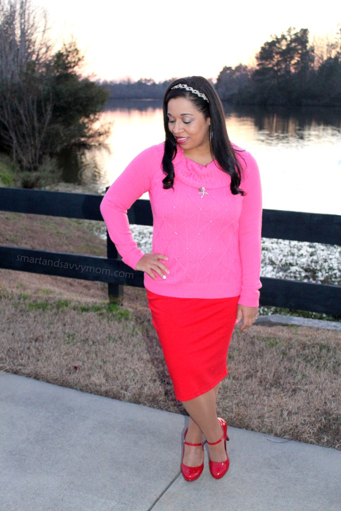 pink jeweled sweater and red pencil skrit modest valentine's day outfit idea