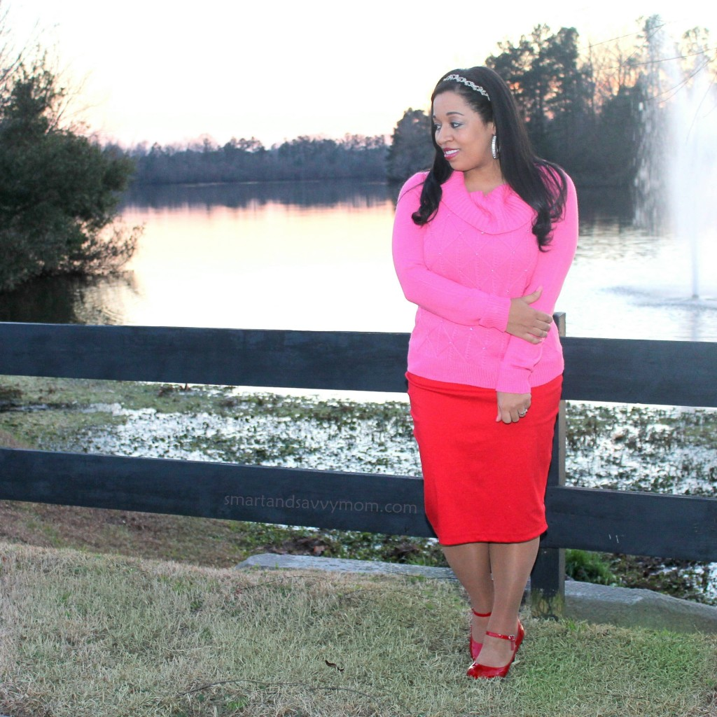 pink sweater and red pencil skrit modest valentine's day outfit idea