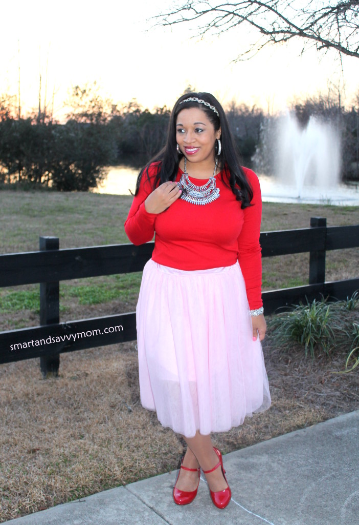 red top, statement necklace, pink tulle and red shoes, modest valentine outfit idea