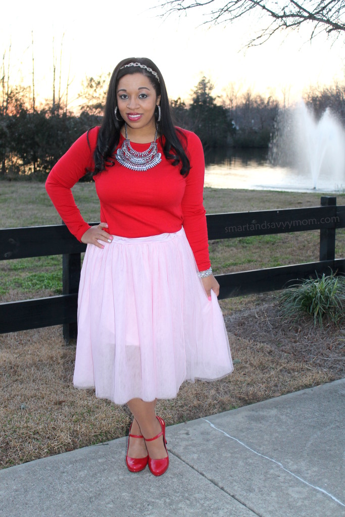 red top, statement necklace, pink tulle and red shoes, modest valentine's day outfit idea
