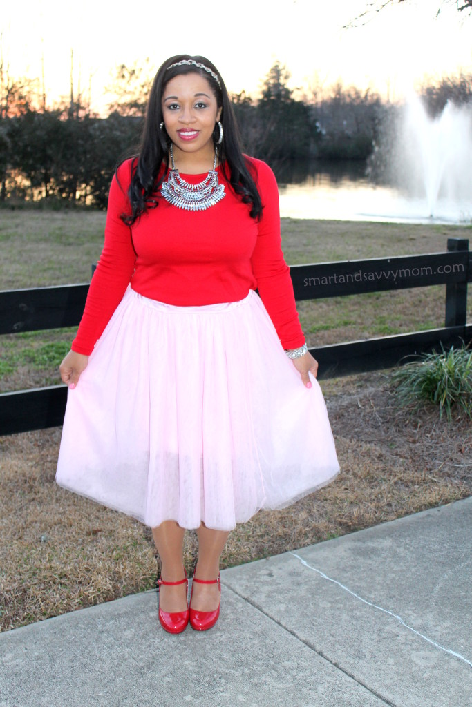 red top, statement necklace, pink tulle skirt and red heels, modest valentine outfit idea 2