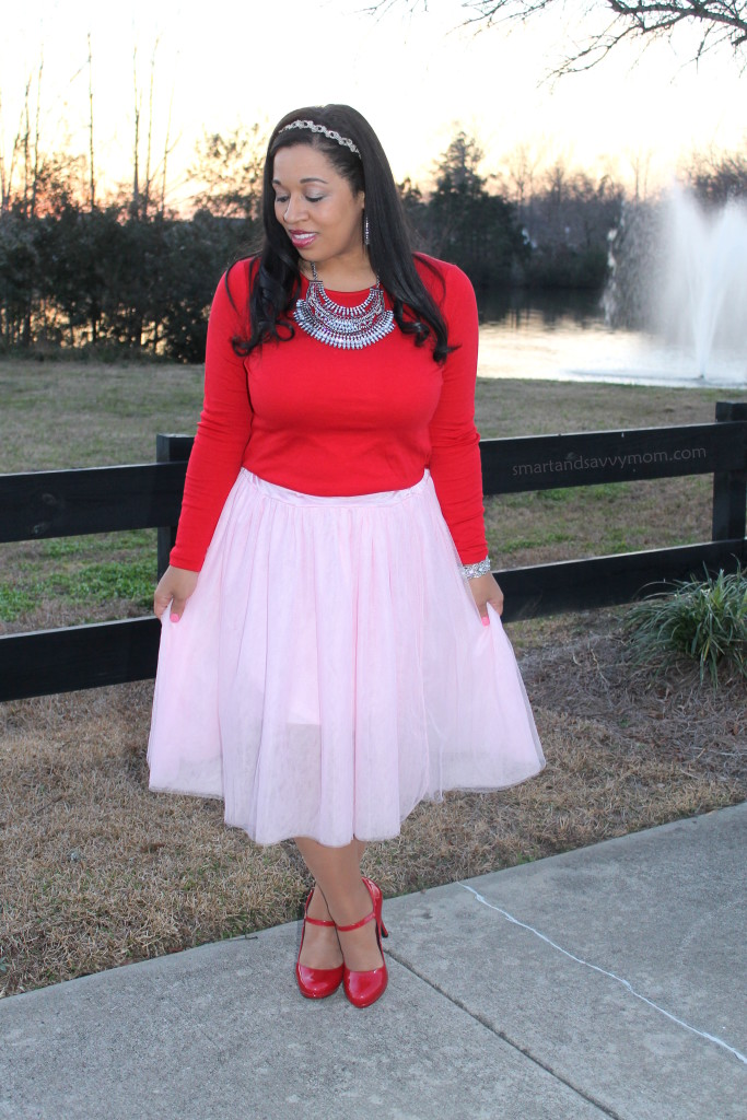 red top, statement necklace, pink tulle skirt and red shoes, modest valentine's day outfit idea