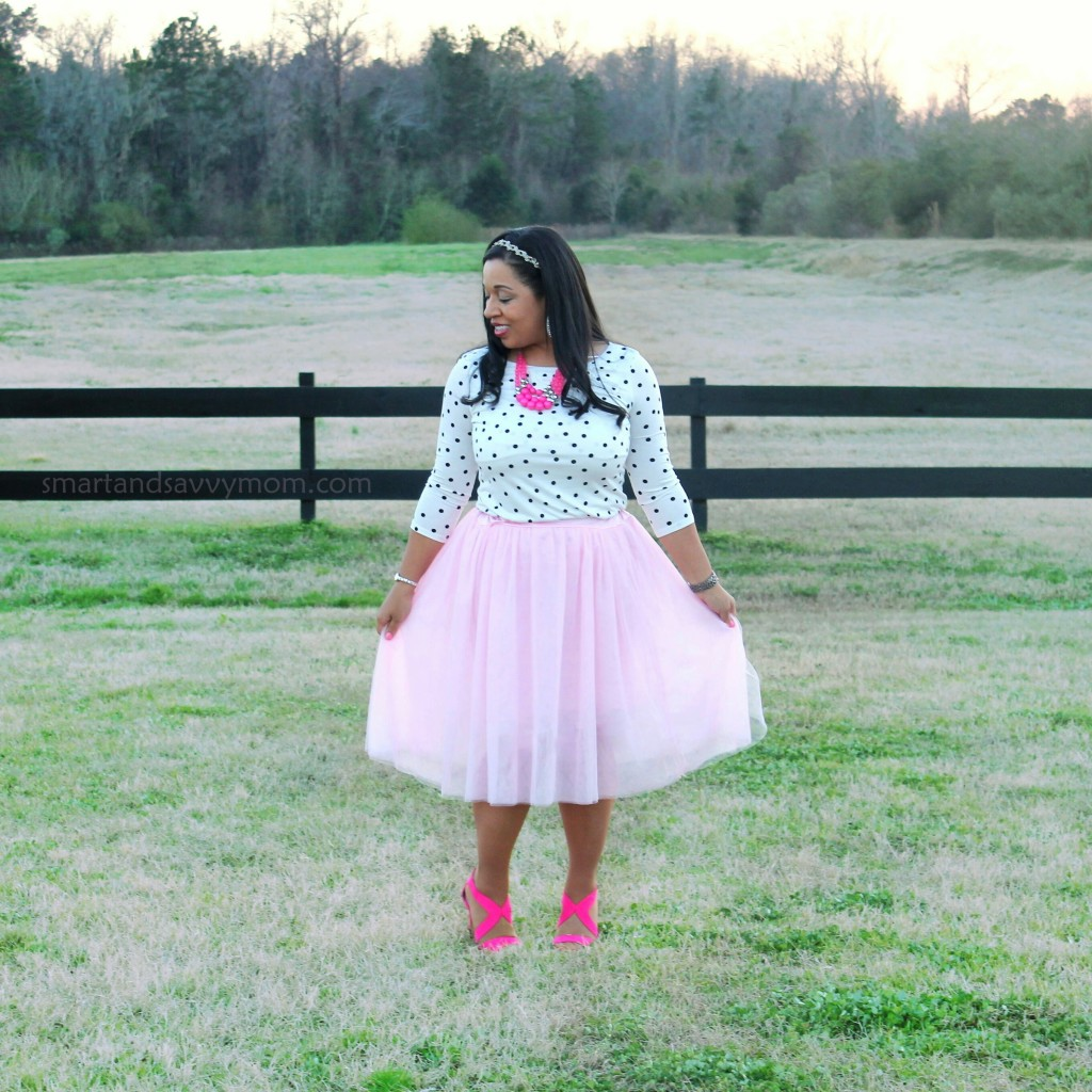 white and black polka dot top and blush pink tulle skirt with hot pink accents, modest valentine's day outfit idea