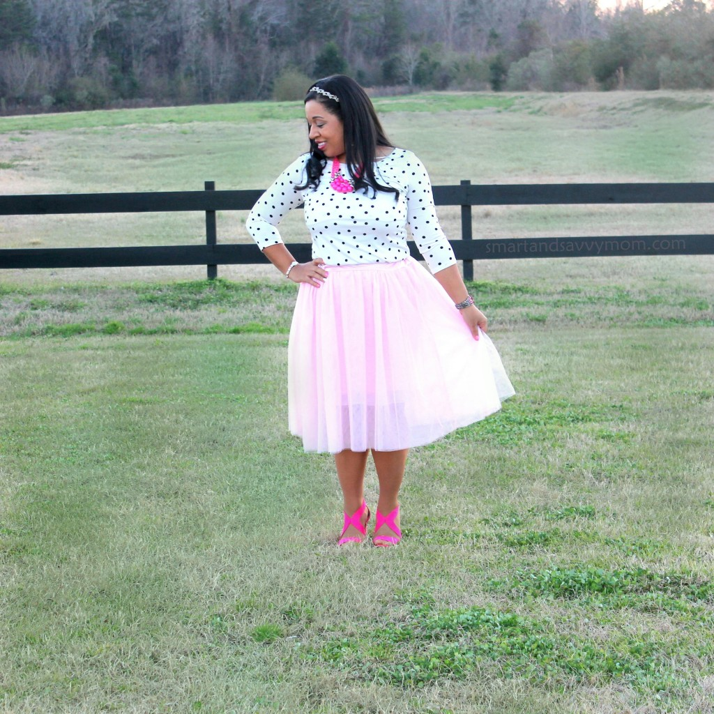 white and black polka dot top and blush pink tulle skirt with hot pink heels, modest valentine's day outfit idea