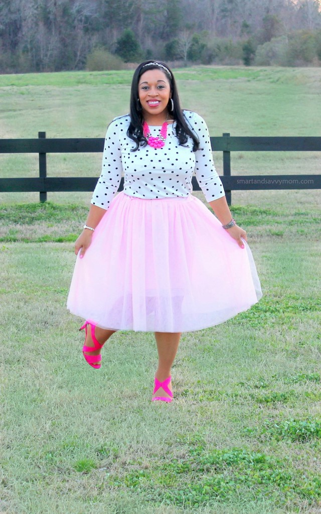 white and black polka dot top and blush pink tulle skirt with hot pink shoes and necklace, modest valentine's day outfit idea