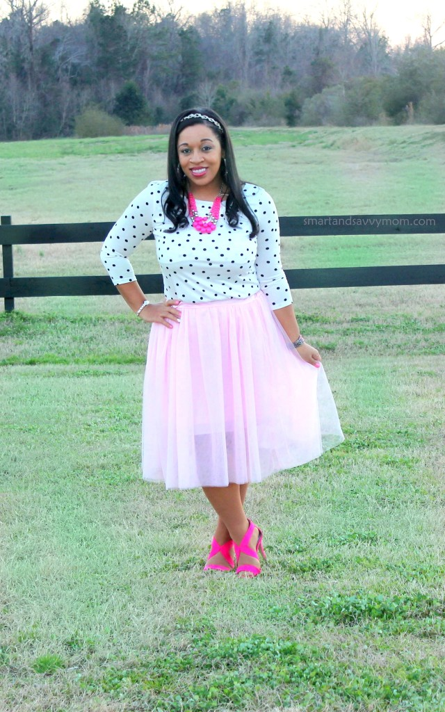 white and black polka dot top and blush pink tulle skirt with hot pink shoes and necklace, valentine's day outfit idea