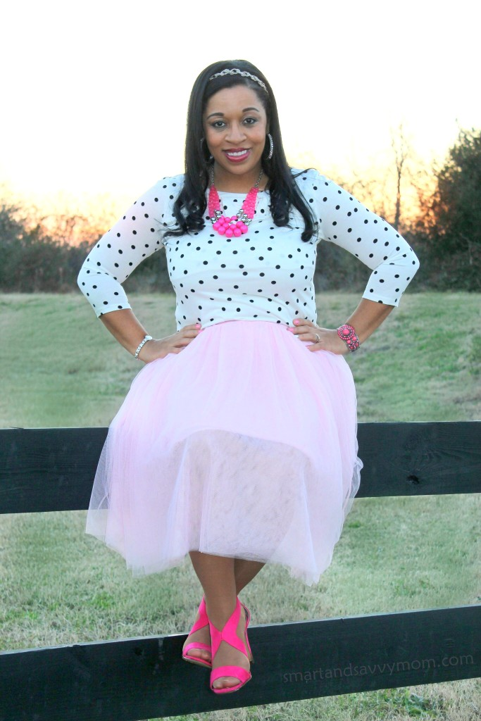 white and black polka dots and blush pink tulle skirt with hot pink accents, modest valentine's day outfit idea