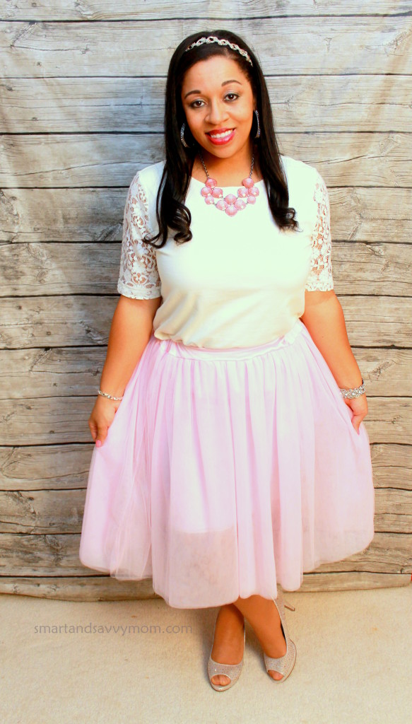 white and pink dressy valentine's day outfit idea
