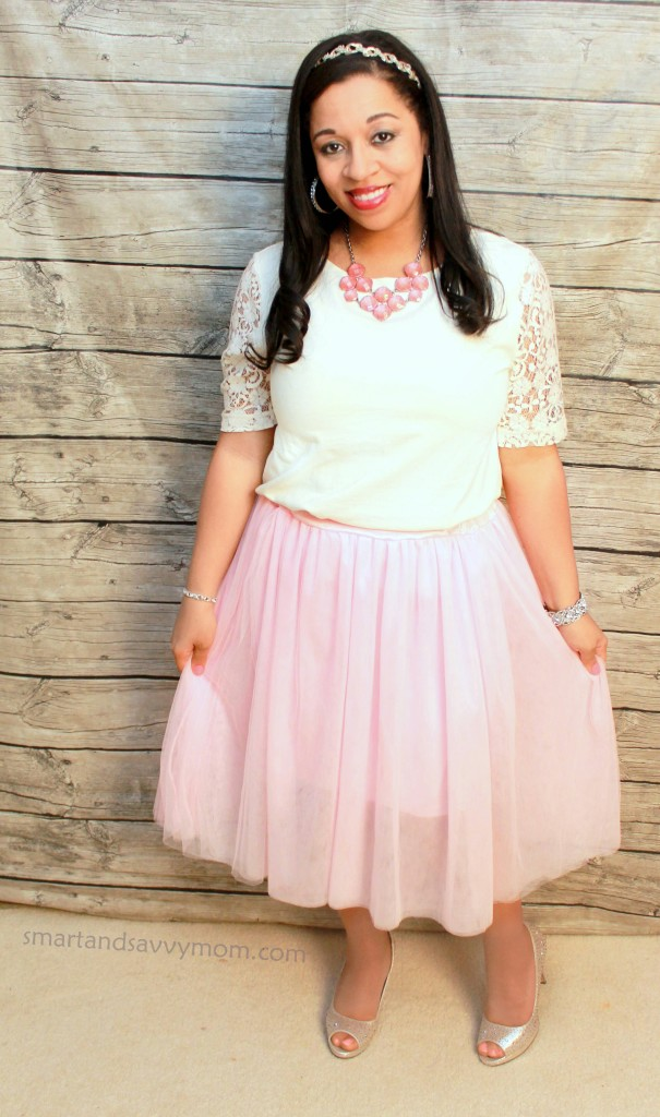 white lace top and pink tulle skirt perfecgt for valentine's day