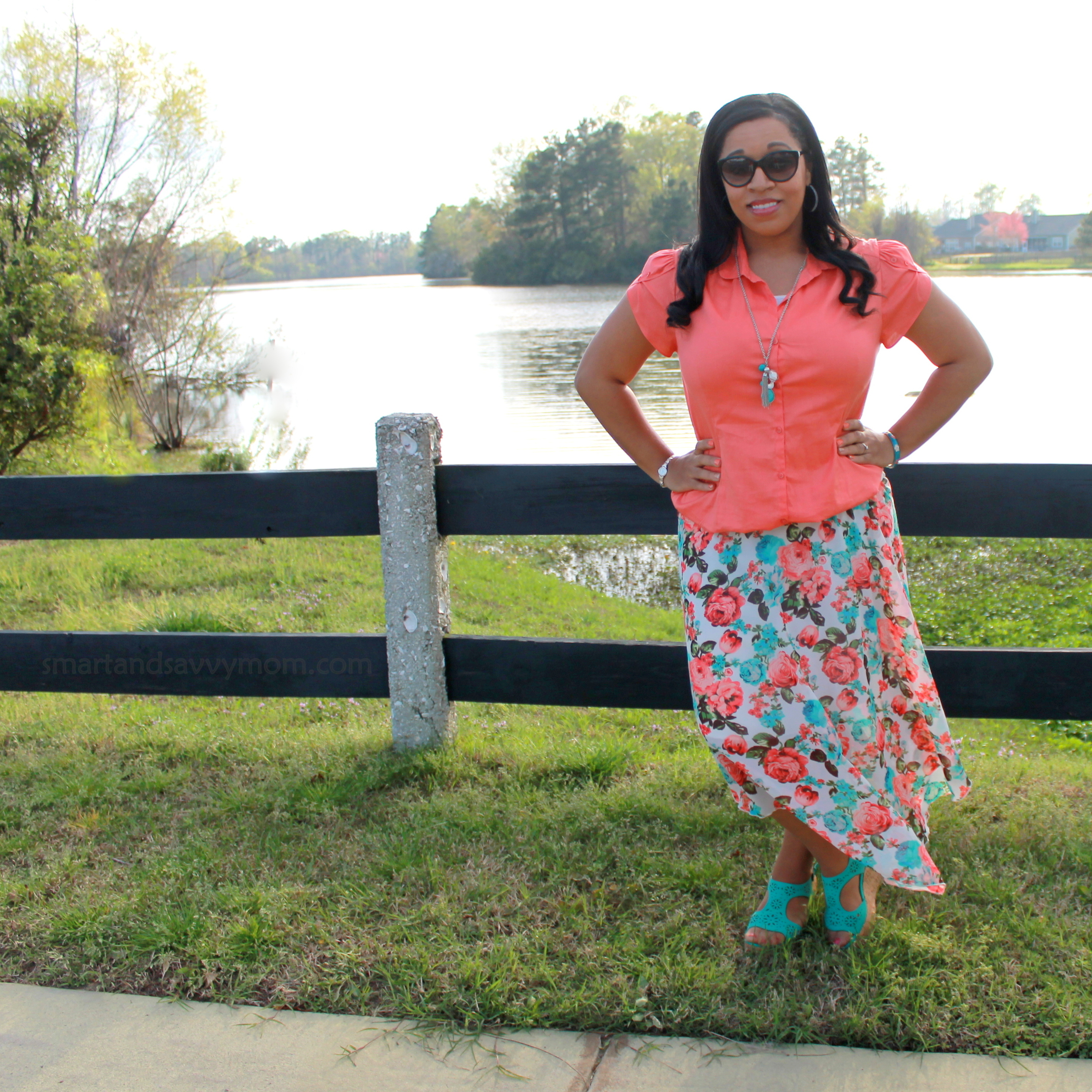 coral button up, teal pendant tassel necklace, platform wedges with coral and mint chiffon maxi skirt modest outfit