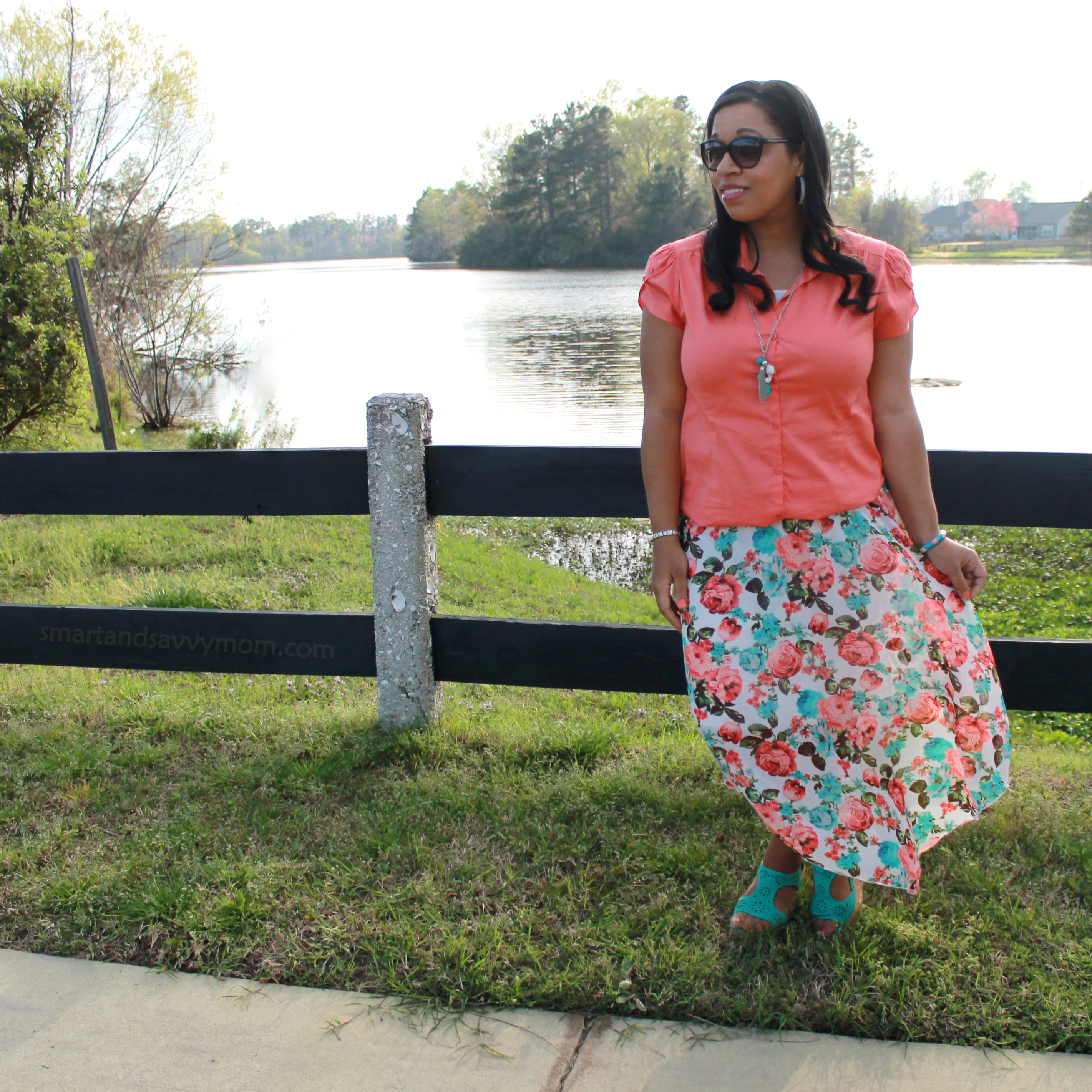 coral button up top with mint and coral floral chiffon arrow maxi skirt modest outfit idea