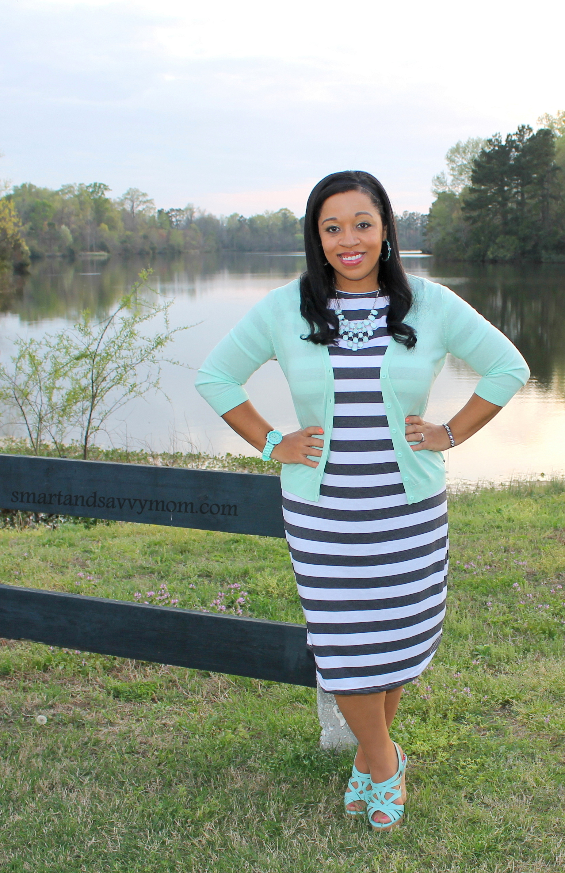 great deal on this black and white striped modest tee shirt dress from jane