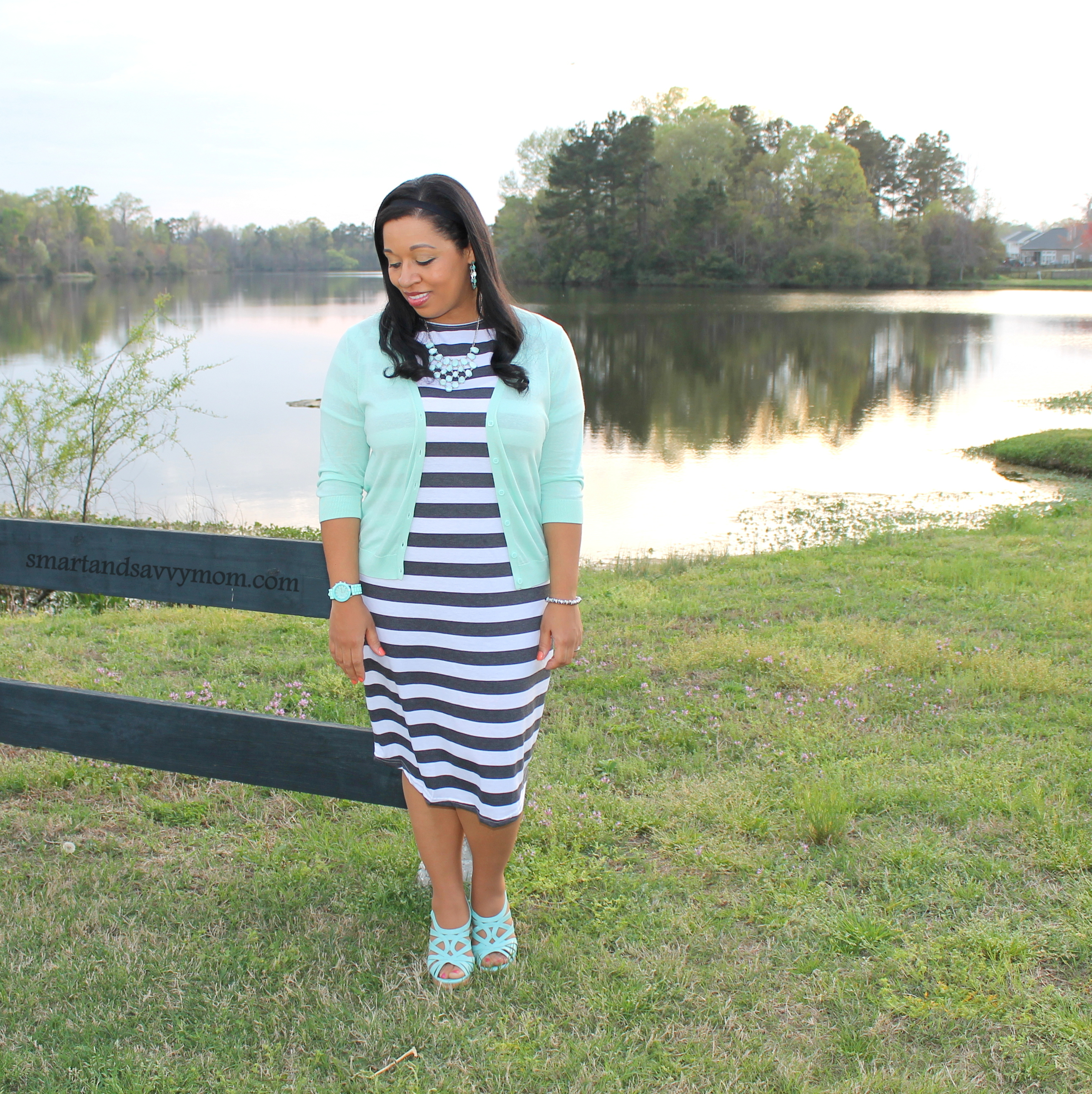 black and white striped tee shirt dress with mint cardigan sweater, teacher outfit idea
