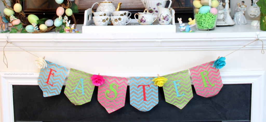 Kirkland's easter banner with wooden clip on flowers from the Target dollar spot; how I decorated my easter mantle