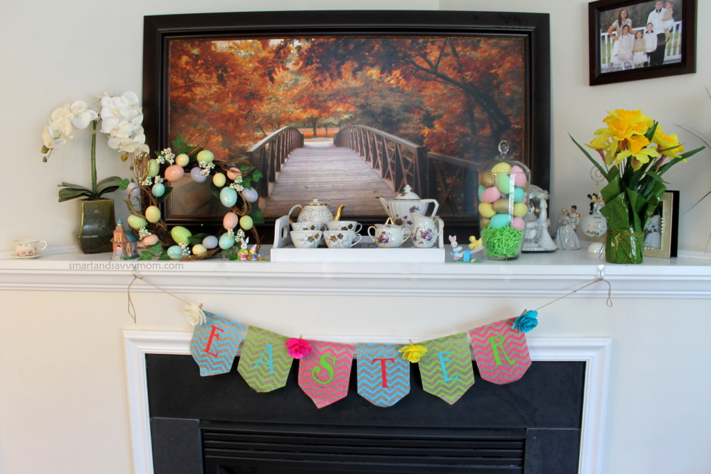 Easter/ Spring decorated easter mantle, fireplace decorations