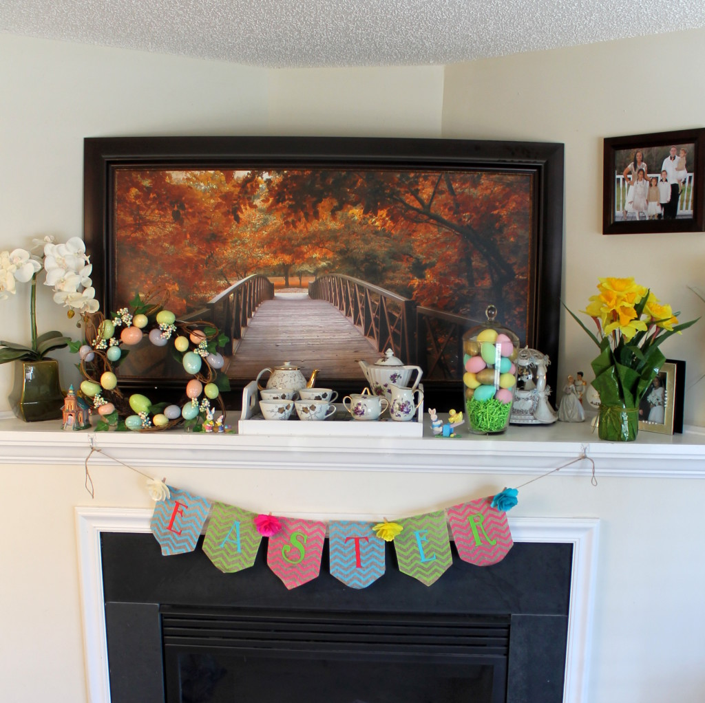 Mantle decorated with Easter mantle for spring