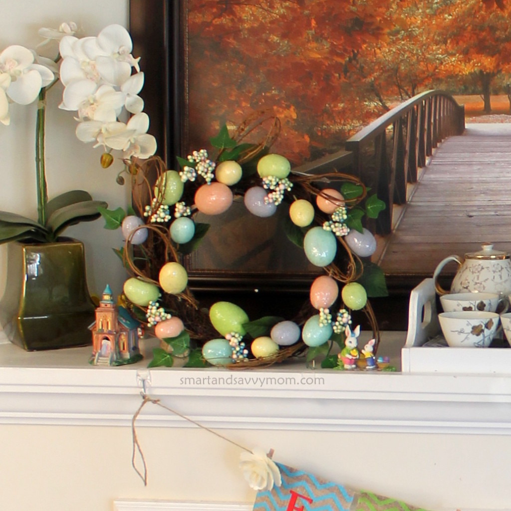 Easter egg wreath from Walmart, pastel egg wreath decorated mantle