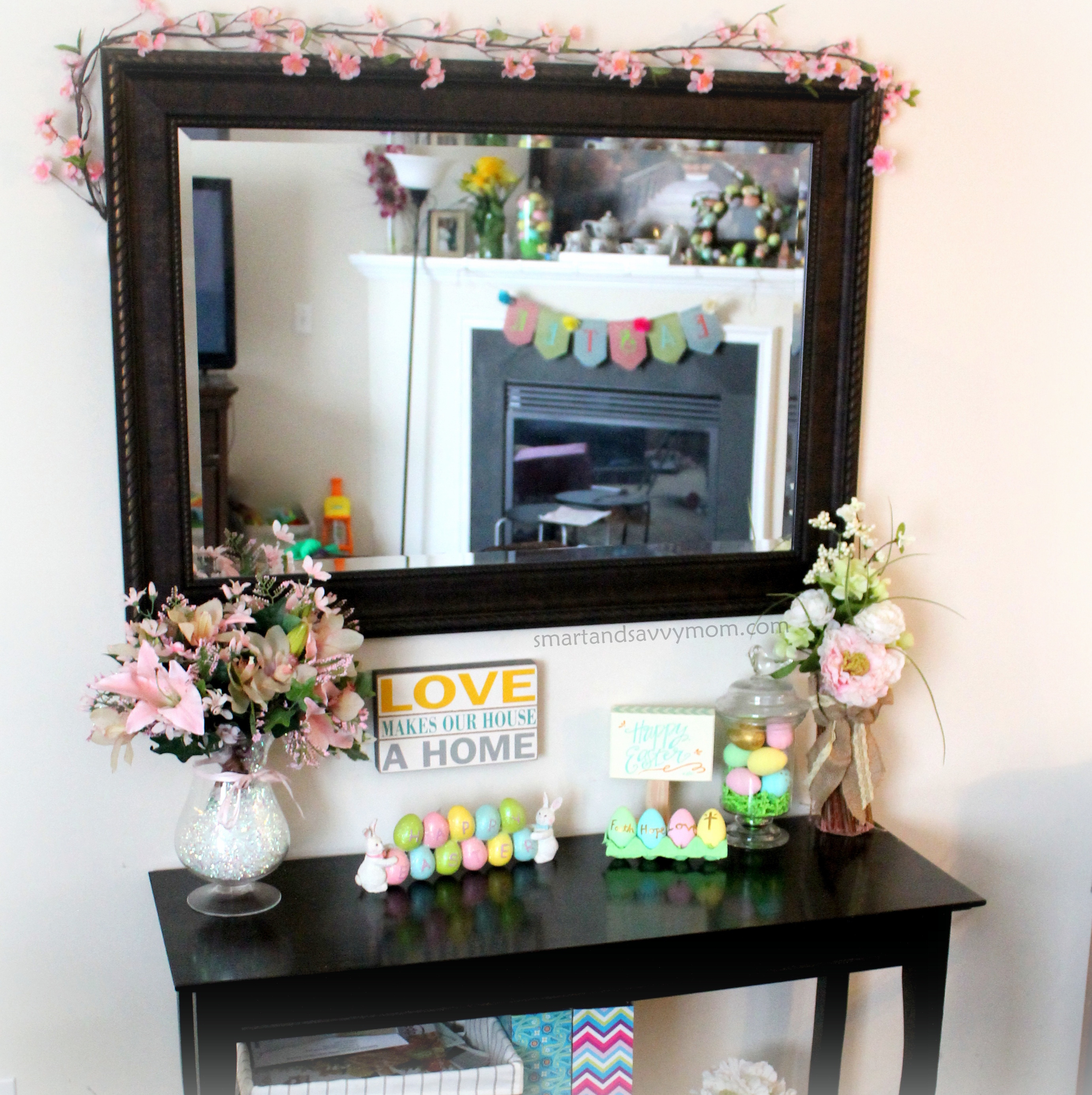 Easter decorated console table with mirror, diy painted easter eggs