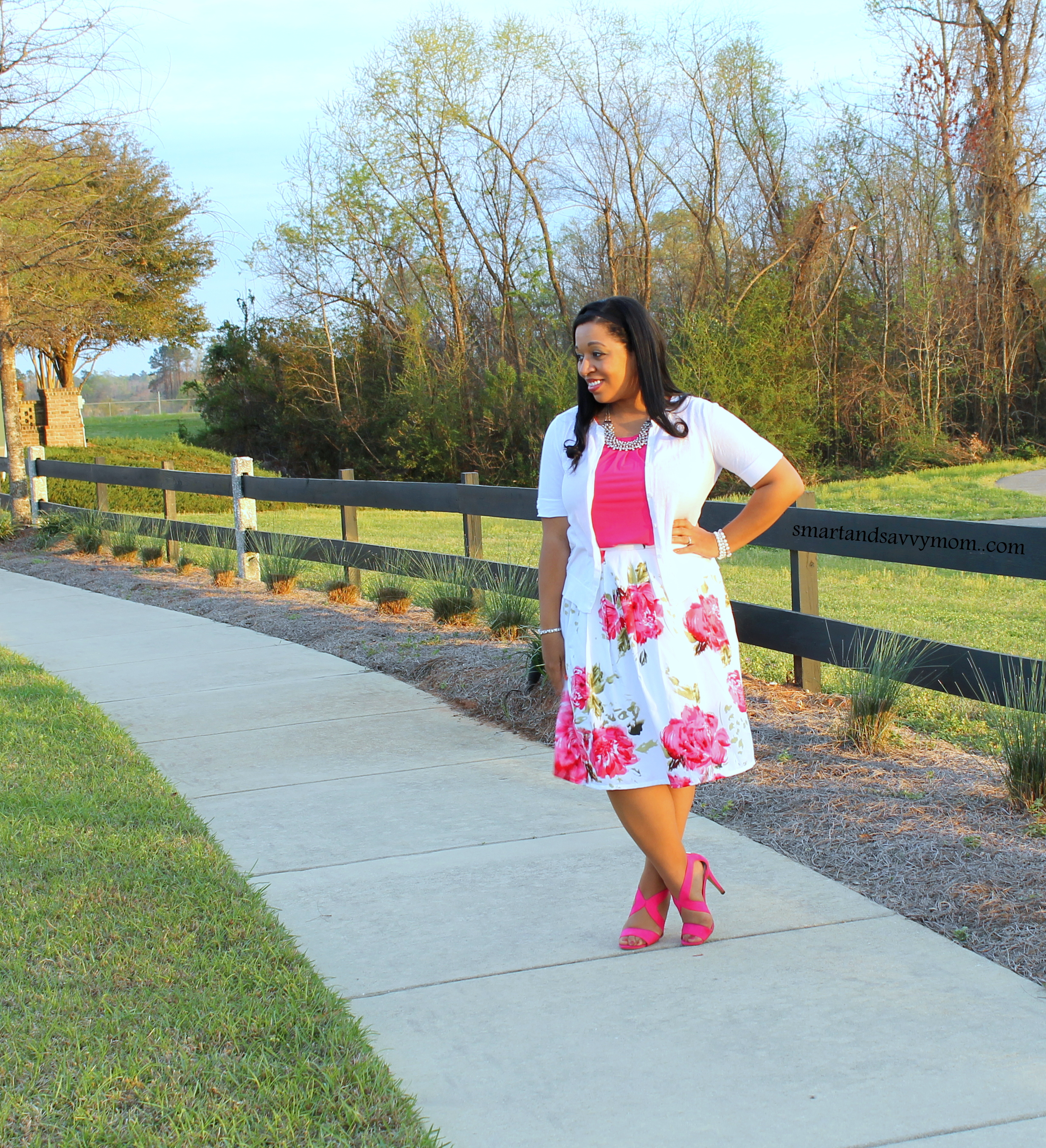 white cardigan, hot pink top, bright pink shoes and white and pink floral pleated skirt from dress barn, modest outfit idea